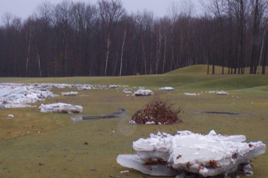Bucks Run Golf Club Mount Pleasant MI Chippewa River Ice Dam 2013